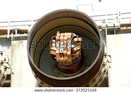 Gas Insulated Switchgear. (GIS) : Components of the transformer - stock photo