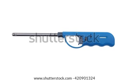Gas lighter gun for gas-stove and gas-kitchen on white background - stock photo
