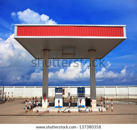 gas lpg( liquid petroleum gas) station with beautiful blue sky background - stock photo