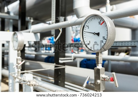 gas manometer. gas manometer on a development plant. industrial details