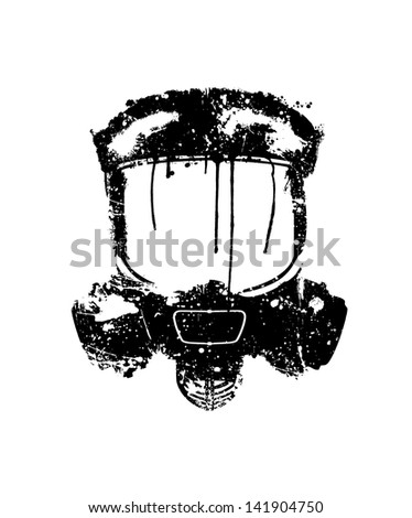 Gas mask painted in black on a white background - stock photo