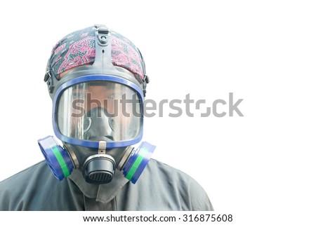 Gas mask White background - stock photo