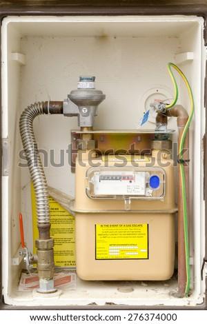 Gas meter installation closeup - stock photo