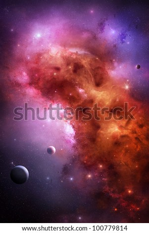 Gas nebula in outer space - stock photo