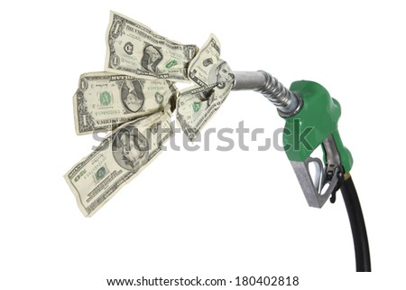 Gas nozzle and hose with cash  - stock photo