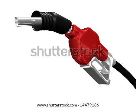 Gas nozzle pointing up on white background 3D