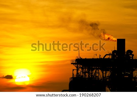 Gas or flare burn on offshore platform