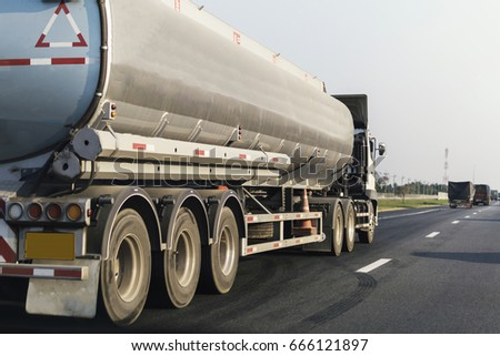 Gas or oil truck on road transport, transportation concept.