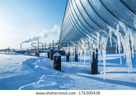 Gas pipe going to the city boiler - stock photo