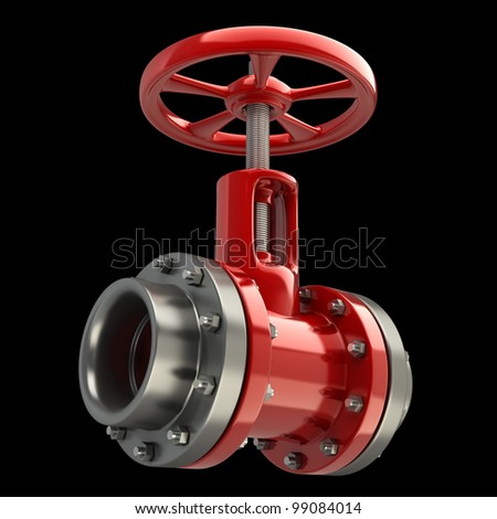 gas pipe with a red valve on black background High resolution 3D - stock photo