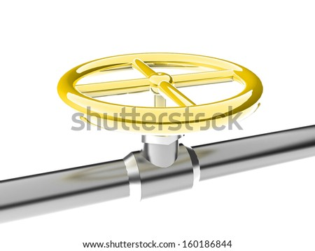 gas pipe with a valve - stock photo