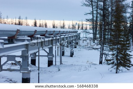 gas pipeline in the area of ??the polar latitudes - stock photo