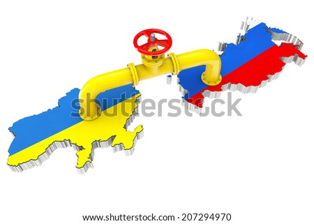 Gas pipeline over Russian and Ukraine maps on a white background - stock photo