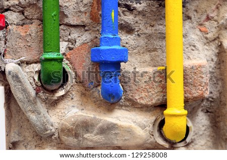 gas pipes colored - stock photo