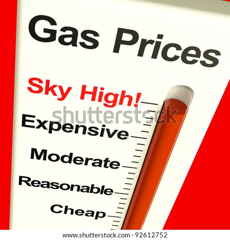 Gas Prices Sky High Monitor Showing Soaring Fuel Expense - stock photo