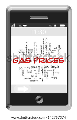 Gas Prices Word Cloud Concept of Touchscreen Phone with great terms such as station, prices, fuel, petro, taxes, tank and more. - stock photo