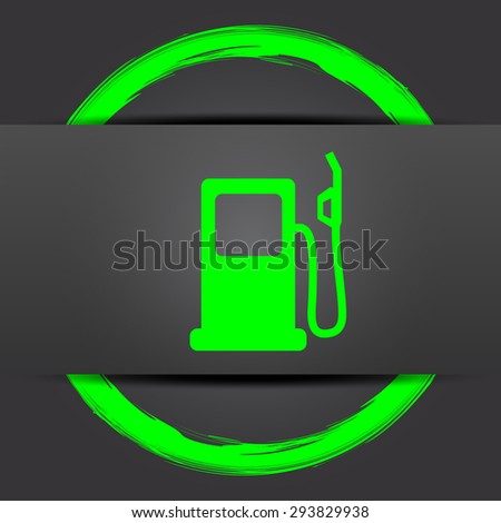 Gas pump icon. Internet button with green on grey background.