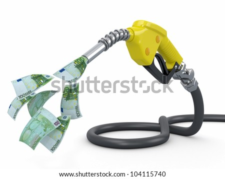 Gas pump nozzle and euro on white background. 3d - stock photo