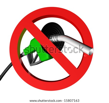 gas pump nozzle with hose behind a no sign - stock photo