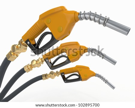 Gas pump nozzles on white isolated background. 3d - stock photo