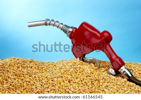 Gas pump sits in a pile of golden corn kernals with space for copy - stock photo