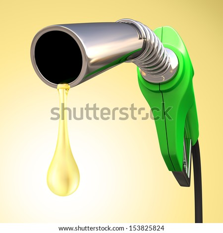 Gas pump with a drop of gasoline fuel. - stock photo