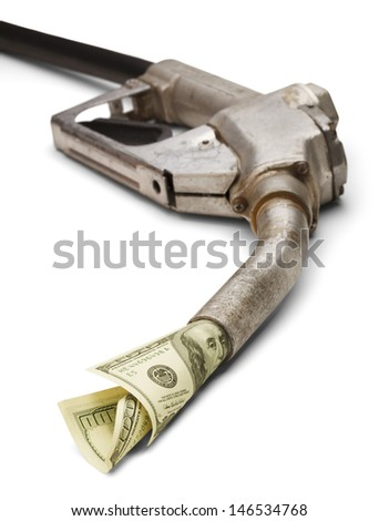 Gas Pump With Cash Coming out of it Isolated on White Background. - stock photo