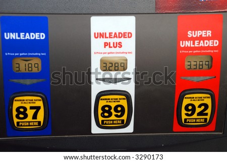 Gas pump with high gas prices - stock photo