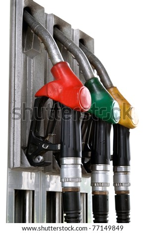 gas pumps is isolated on white background - stock photo