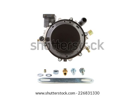 Gas reducer vehicle and its accessories on a white background - stock photo