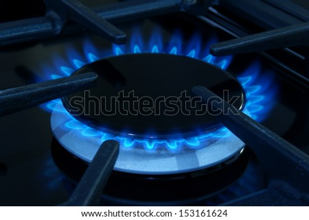 Gas ring on a domestic cooker or stove - stock photo