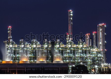 Gas separation plant at twilight dark blue sky