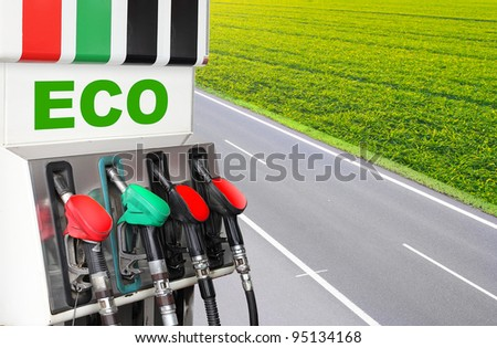 Gas station and highway. Bio fuel concept. - stock photo