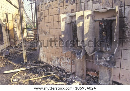 Gas station burned out during 1992 riots, South Central Los Angeles, California - stock photo