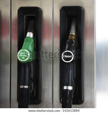 gas station close up - stock photo