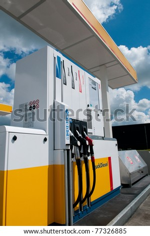 gas station for fueling gasoline and diesel - stock photo