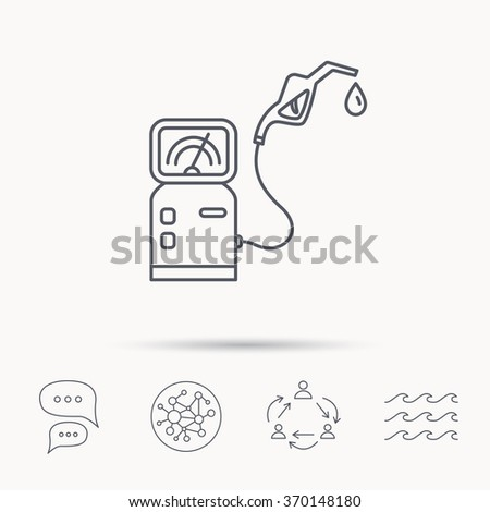 Gas station icon. Petrol fuel pump sign. Global connect network, ocean wave and chat dialog icons. Teamwork symbol. - stock photo