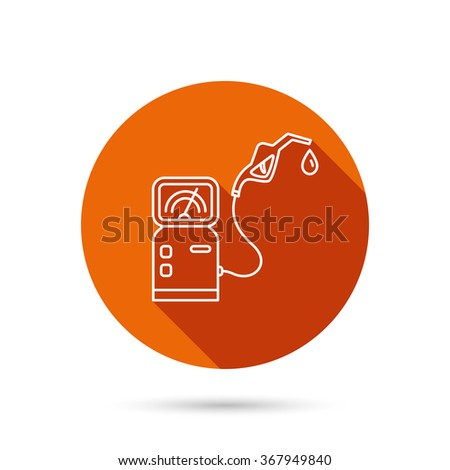 Gas station icon. Petrol fuel pump sign. Round orange web button with shadow. - stock photo