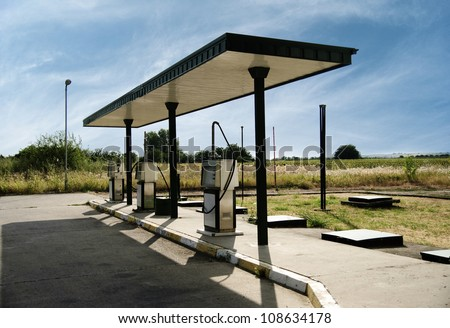 Gas station in rural area - stock photo