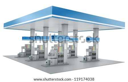 Gas station isolated on white background. 3D render. - stock photo