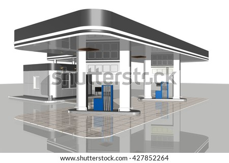 Gas station isolated on white background.3D render.