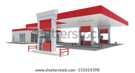 Gas Station. Isolated render on a white background