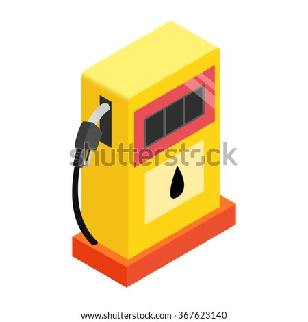 Gas station isometric 3d icon on a white background - stock photo