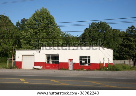 Gas station located in a small American town. - stock photo