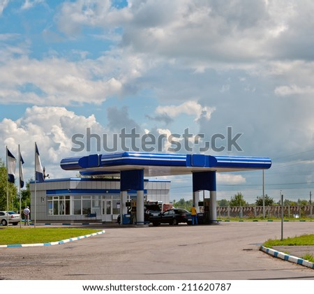 gas station on a background sky