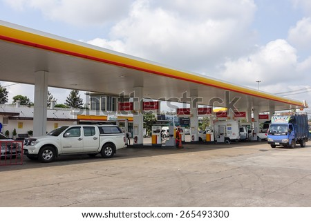 Gas station : Shell gas station on March 30, 2015 in Bangkok, Thailand. Ready public service. - stock photo