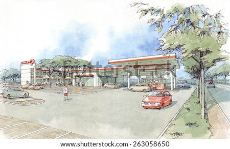 gas station to the motel -1 - stock photo