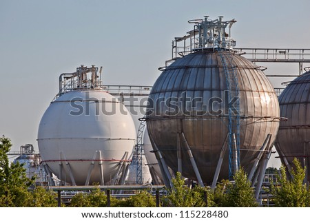 Gas storage spheres from an chemical storage facility - stock photo