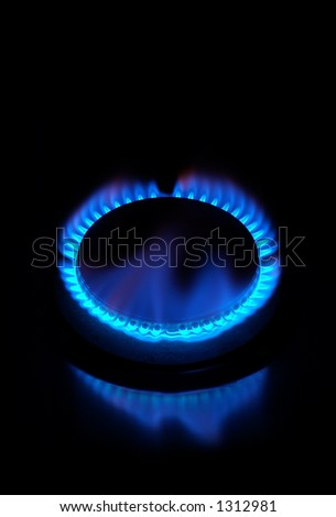 Gas stove burning - look in profile for more - stock photo