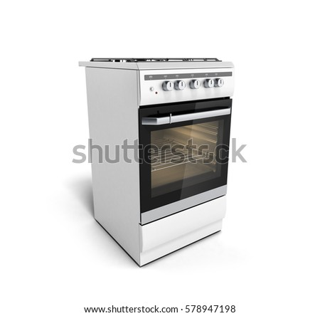 stove white. gas stove 3d render isolated on a white background
